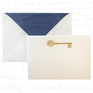 Bittner Engraved Cards - Golden Key w/ Navy Blue Evelopes (6ct)