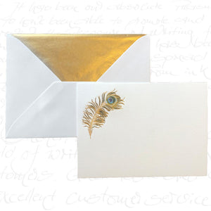 Bittner Engraved Cards - Peacock Feather with Green Tissue Envelopes (6ct)