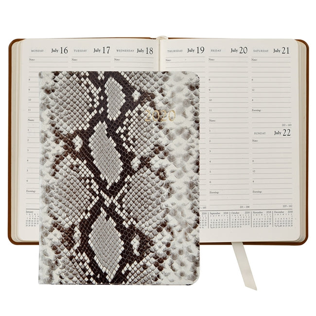 Graphic Image Datebook Desk Diary - Printed Python Leather