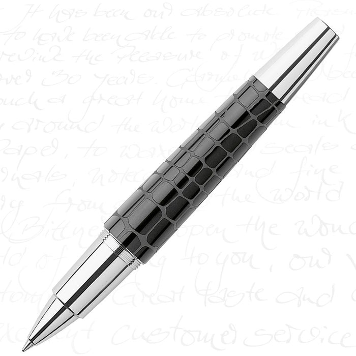 Faber-Castell E-Motion Precious Resin I - Crocodile Black Rollerball Pen