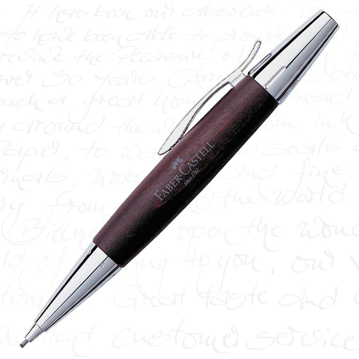 Faber-Castell E-Motion Wood & Polished Chrome-Dark Brown Mechanical Pencil