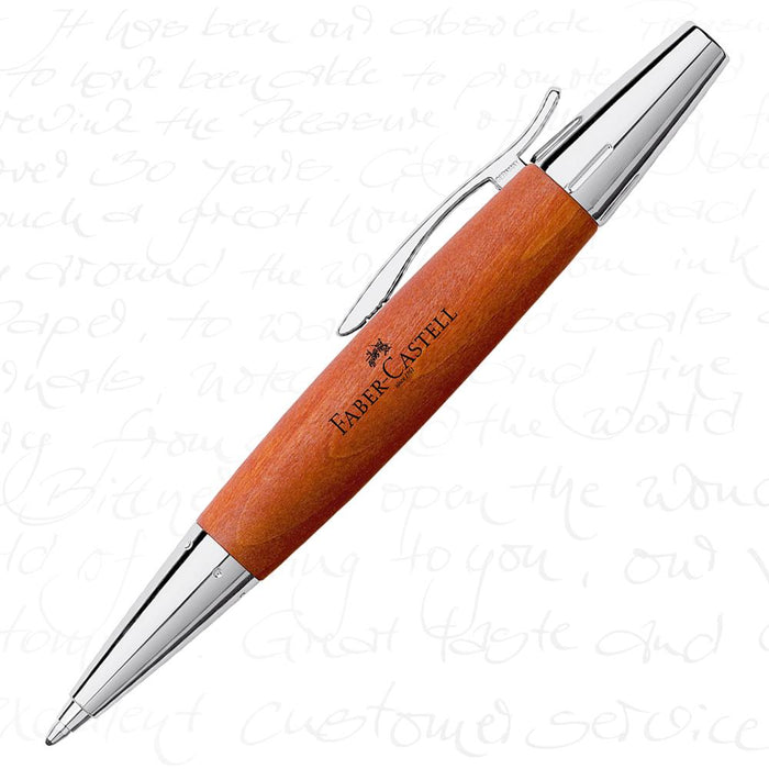 Faber-Castell E-Motion Wood & Polished Chrome-Brown Ballpoint Pen