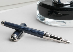 S.T. Dupont Line D Medium Fountain Pen - Guilloche Blue & Palladium