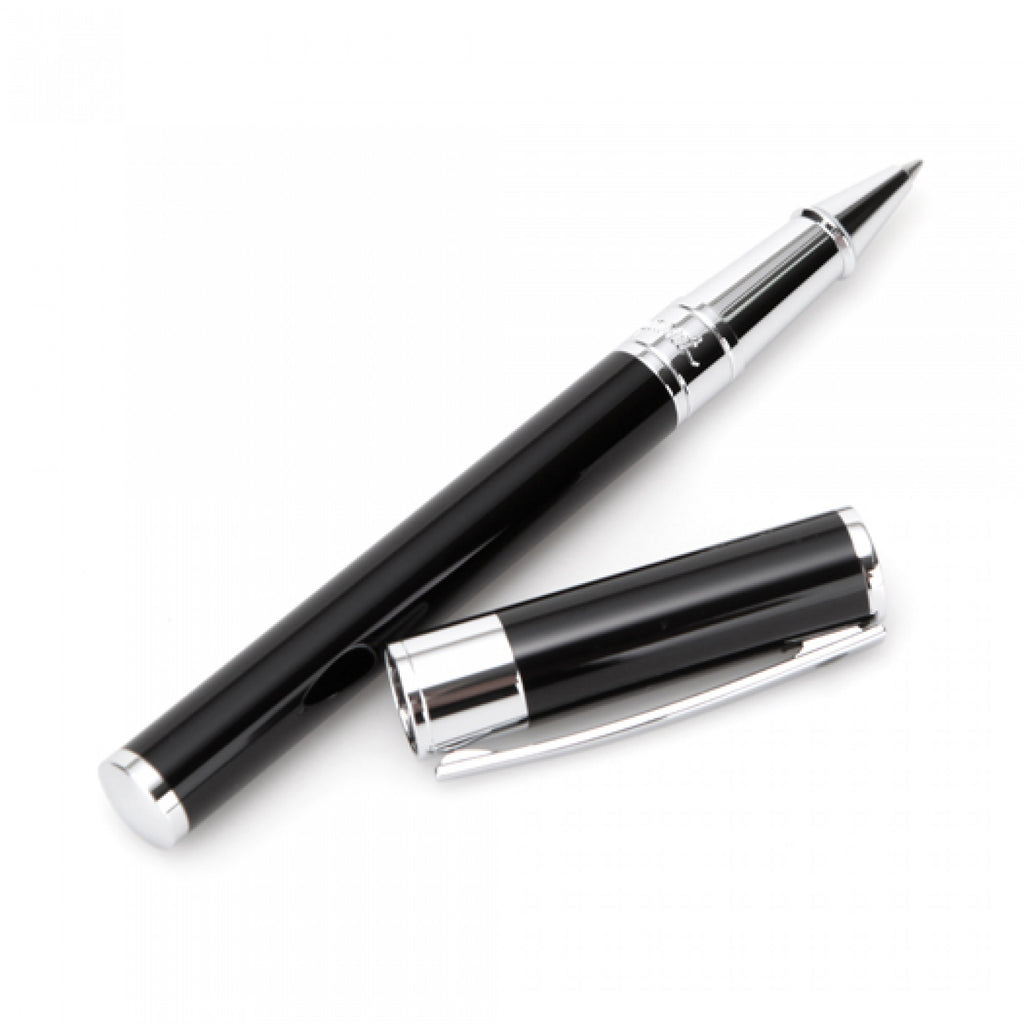 S.T. Dupont D-Initial Rollerball Pen - Black & Chrome