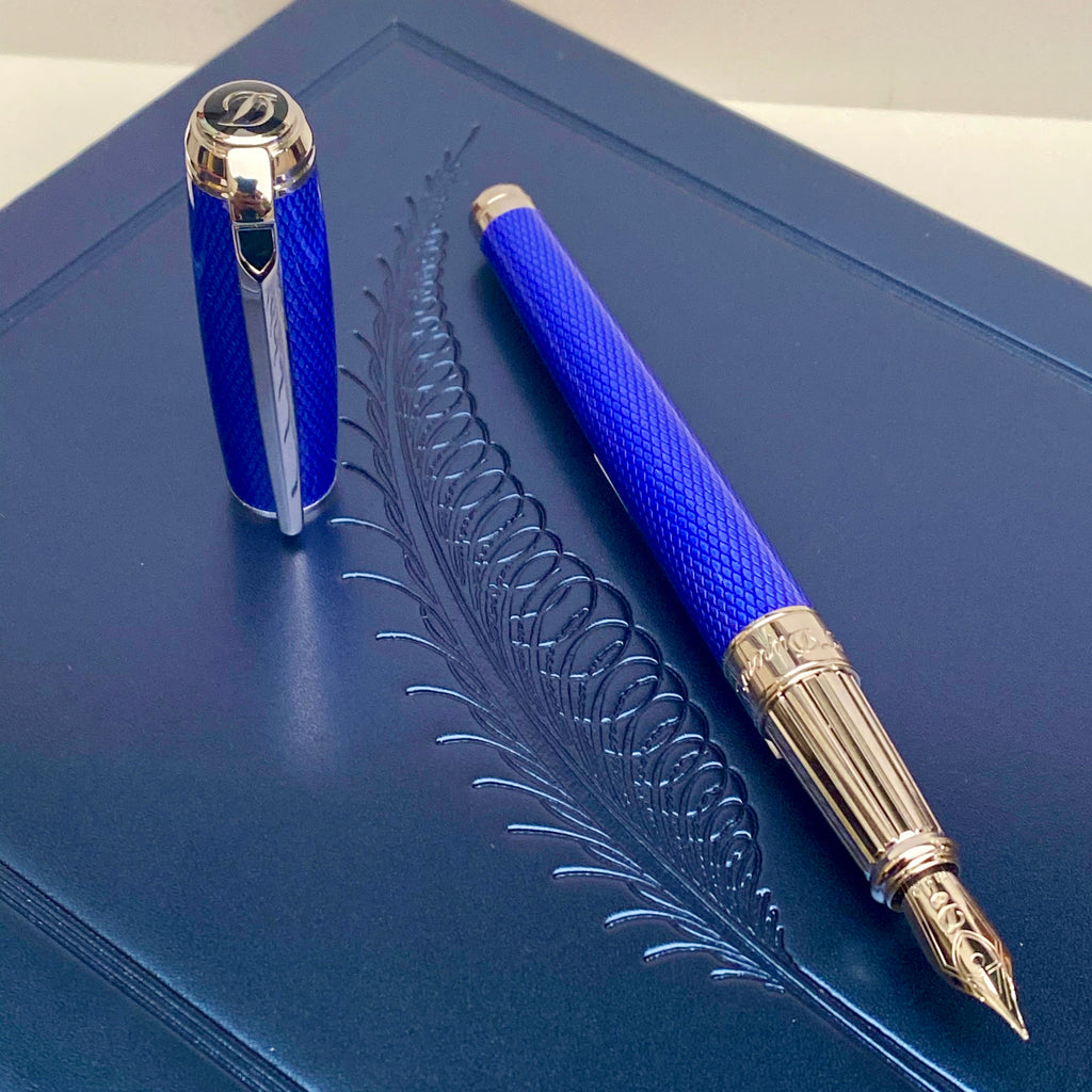 S.T. Dupont Diamond Guilloche Fountain Pen - Sapphire