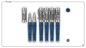 Montegrappa Ten Commandments Blue / Sterling Silver - Fountain Pen