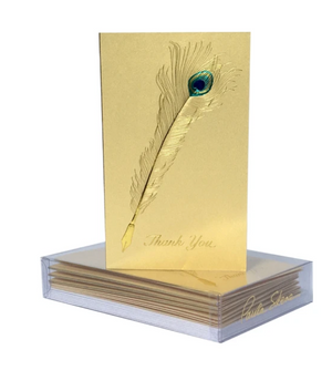 Peacock Quill Boxed Mini Note Thank You