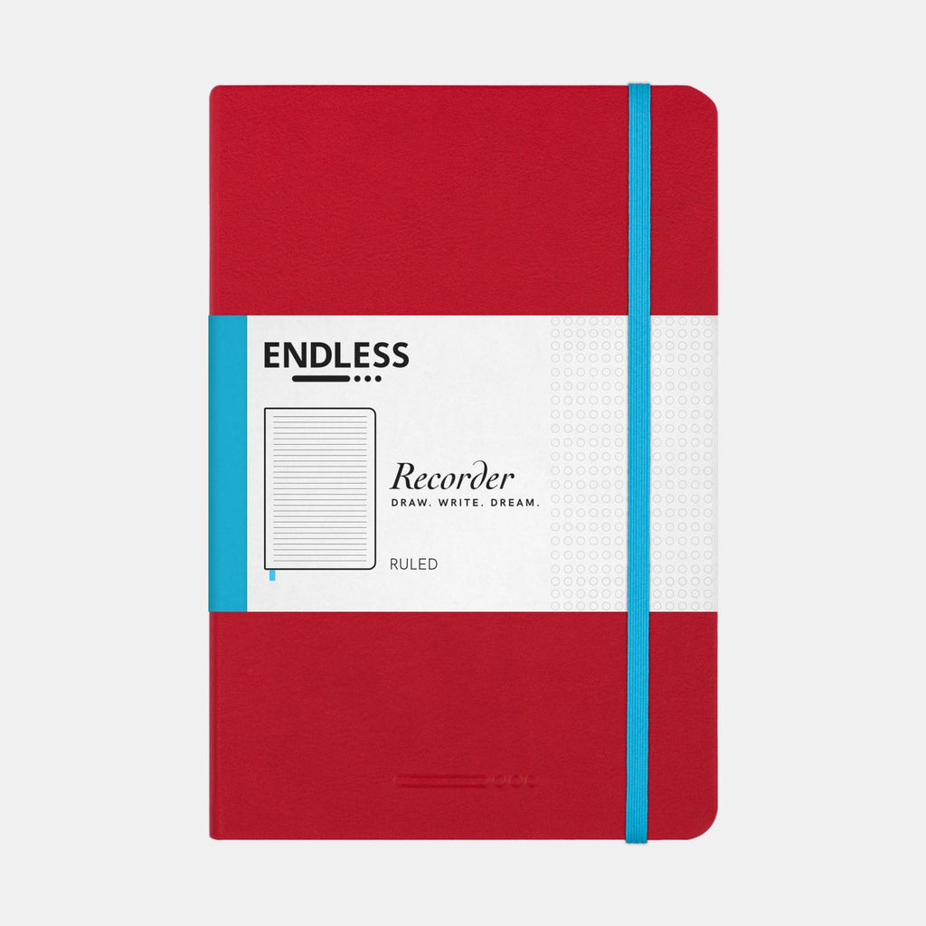 Endless Recorder A5 Notebook  –  Crimson Sky