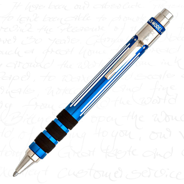 Michael's Fatboy S-Model Ballpoint Pen Blue w/ Silver Pinstripes