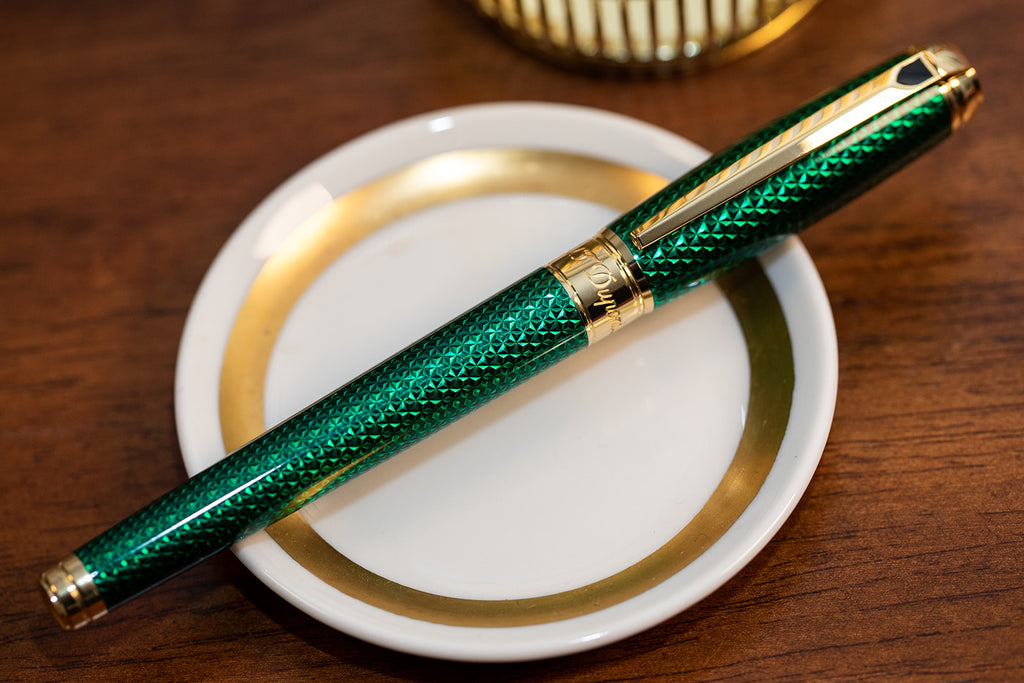S.T. Dupont Line D Firehead Guilloche Fountain Pen - Emerald
