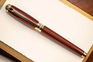 S.T. Dupont Line D Firehead Guilloche Fountain Pen - Amber