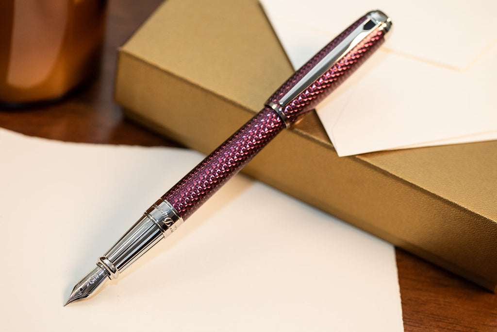 S.T. Dupont Line D Firehead Guilloche Fountain Pen - Amethyst