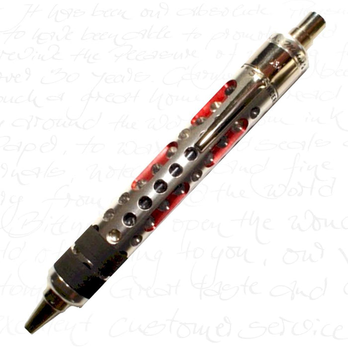 Michael's Fatboy Silencer II Ballpoint Pen Silver w/ Red Tracers