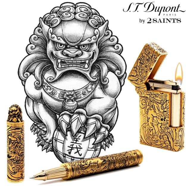 S.T. Dupont Haute Creation Tattoo Collection Rollerball Pen - Gold Foo Dog
