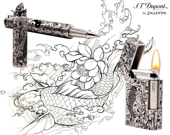 S.T. Dupont Haute Creation Tattoo Collection Rollerball Pen - Rhodium Koi Fish