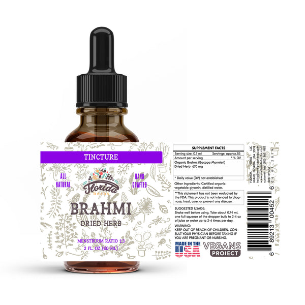 Brahmi Liquid Extract, Organic Brahmi (Bacopa Monnieri) Dried Herb Tincture Herbal Supplement, Non-GMO in Cold-Pressed Organic Vegetable Glycerin 700 mg, 2 oz (60 ml)