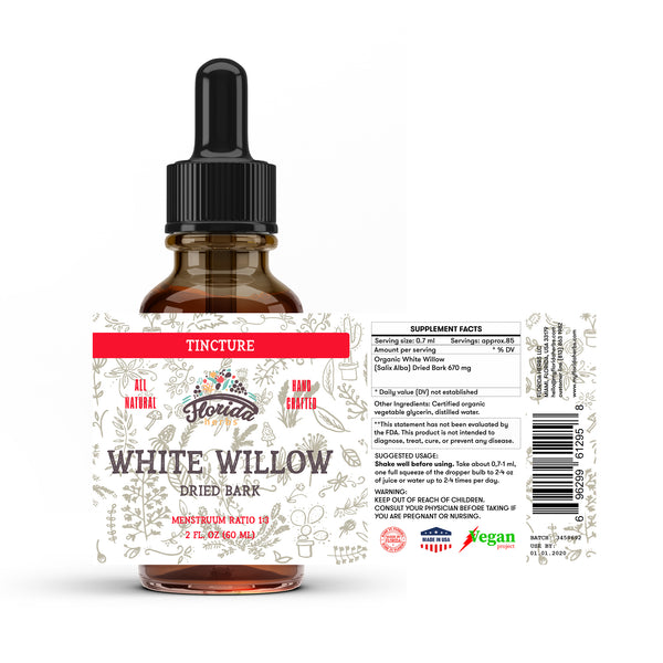 White Willow Tincture Extract, Organic White Willow (Salix Alba) Dried Bark Herbal Supplement in Cold-Pressed Vegetable Glycerin 670 mg