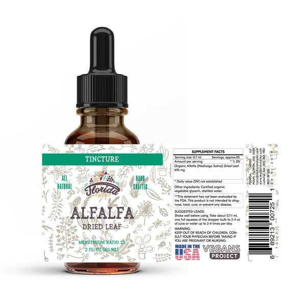 Alfalfa Tincture, Organic Alfalfa Extract (Medicago Sativa) Dried Leaf
