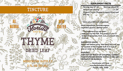Thyme Tincture, Organic Thyme Extract (Thymus Vulgaris) Dried Leaf
