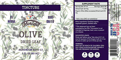 Olive Tincture, Organic Olive Extract (Olea europaea) Dried Leaf