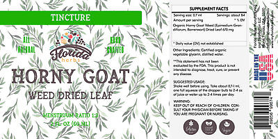 Horny Goat Weed Tincture, Organic Horny Goat Weed Extract (Yin Yang Huo)