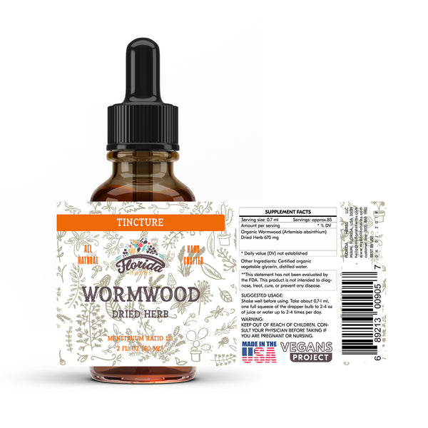 Wormwood Tincture, Organic Wormwood Extract (Artemisia absinthium) Dried Herb
