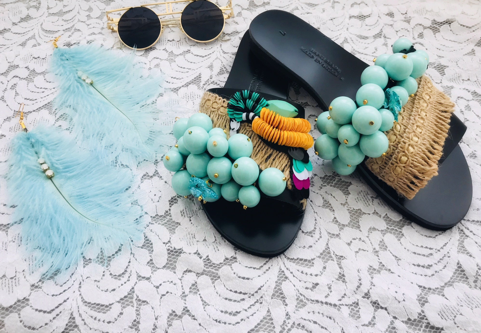BLUE HAWAIIAN TROPICAL Leather Sandals, [product_tags] - Let's Boho