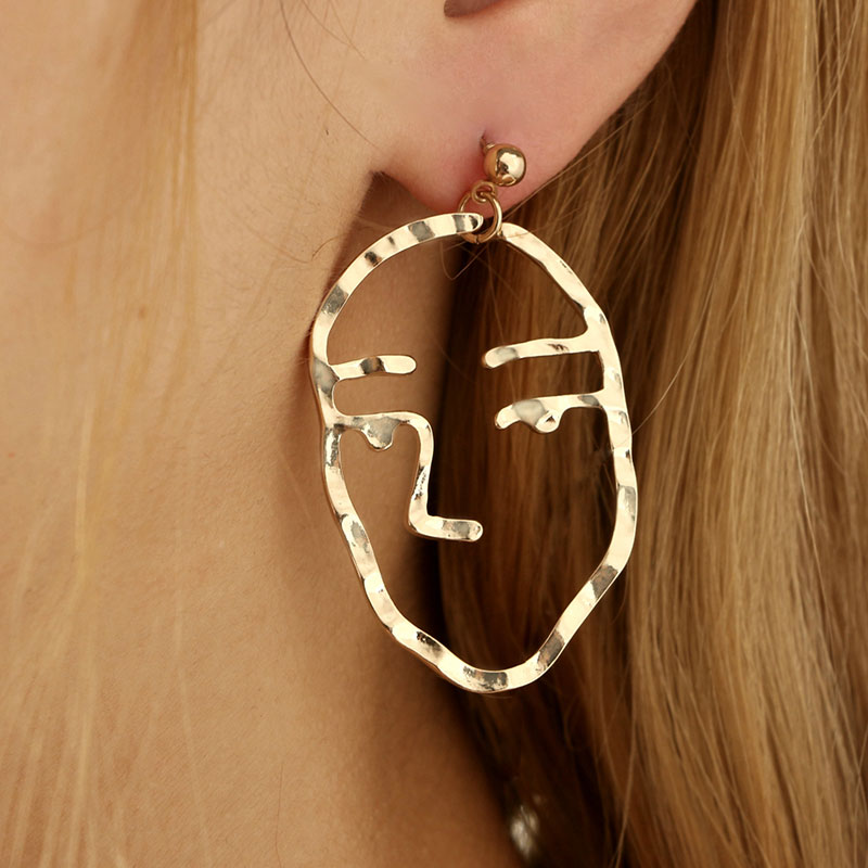 Abstract Face Portrait Stud Earrings Gold & Silver, [product_tags] - Let's Boho