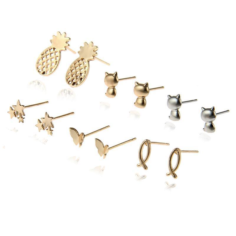 6 Pairs/Set Stud Earrings Many Styles, [product_tags] - Let's Boho