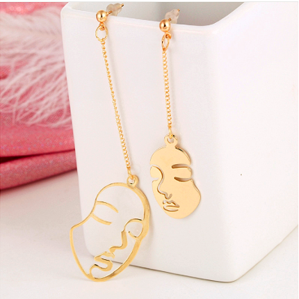 Abstract Face Fashion Long Earrings, [product_tags] - Let's Boho