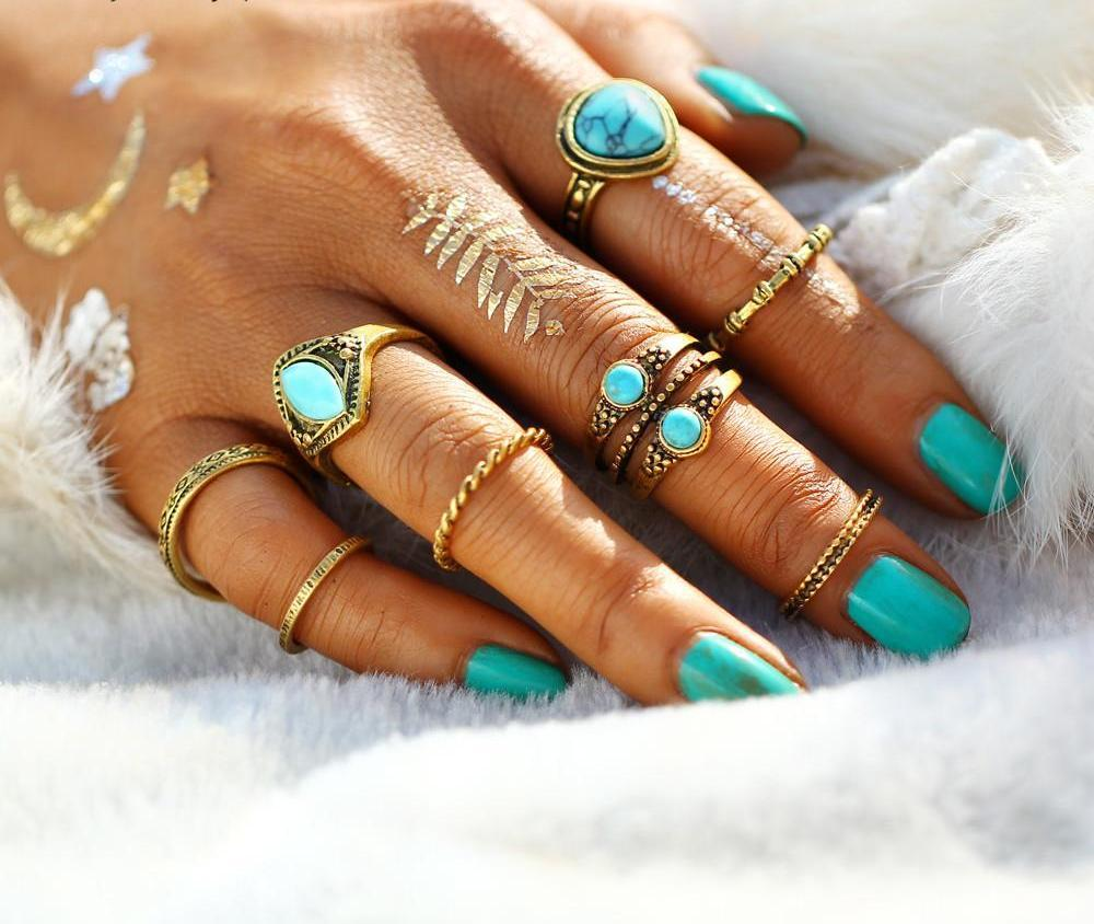 8pcs/Set Boho Antique Gold Blue Natural Stones Rings, [product_tags] - Let's Boho