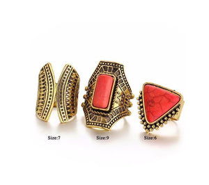 3pcs/Set Boho Rings Coral Stones Gold Color, [product_tags] - Let's Boho