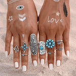 9pcs/Set Fashion Boho Blue Stone Rings Silver Color, [product_tags] - Let's Boho