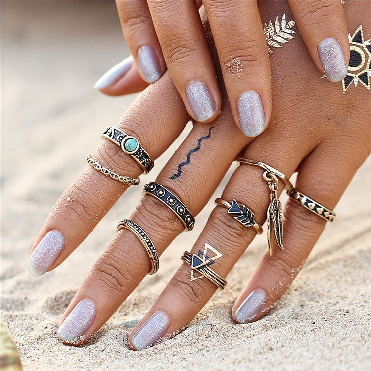 Boho Midi Rings Gold Color 8pcs/Set, [product_tags] - Let's Boho