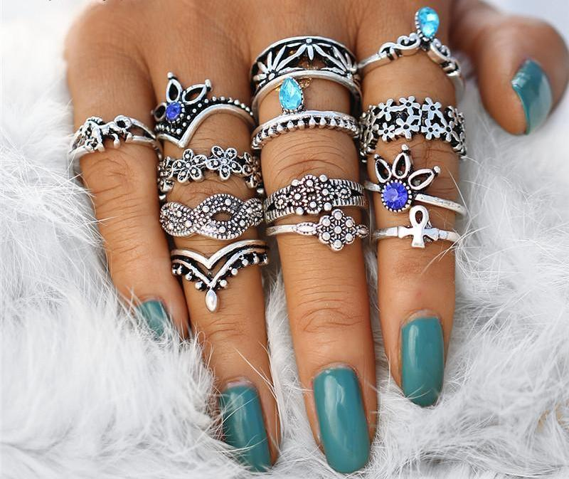 13pcs/Set Fashion Boho Midi Crystal Rings, [product_tags] - Let's Boho