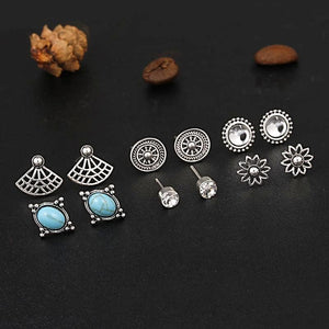 6pcs/Set Boho Crystal Blue Stone Stud Earrings, [product_tags] - Let's Boho