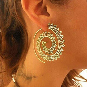 Fashion Spriral Flower Hoop Earrings, [product_tags] - Let's Boho