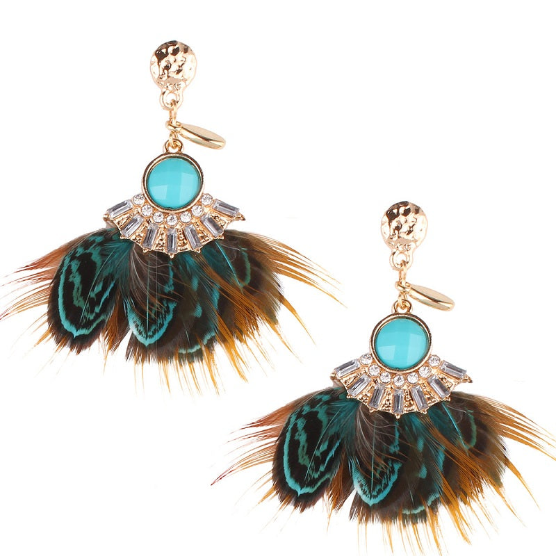 Bohemian Feather Ocean Blue Drop Earrings, [product_tags] - Let's Boho