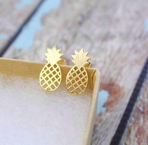 Minimalistic Pineapple Gold Stud Earrings, [product_tags] - Let's Boho
