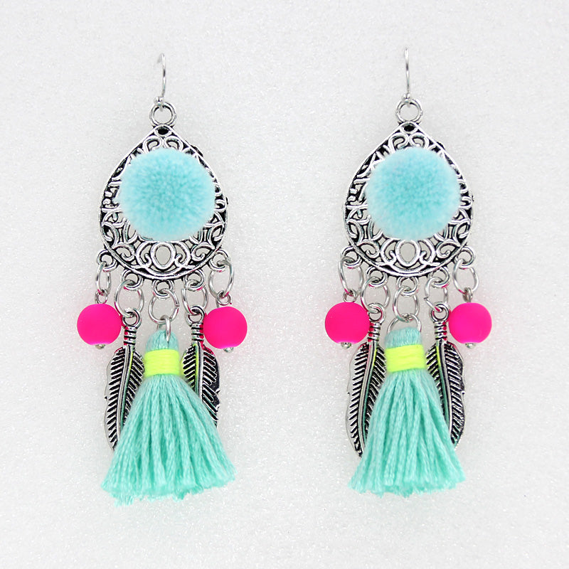Bohemian Pom Pom Tassel Earrings, [product_tags] - Let's Boho