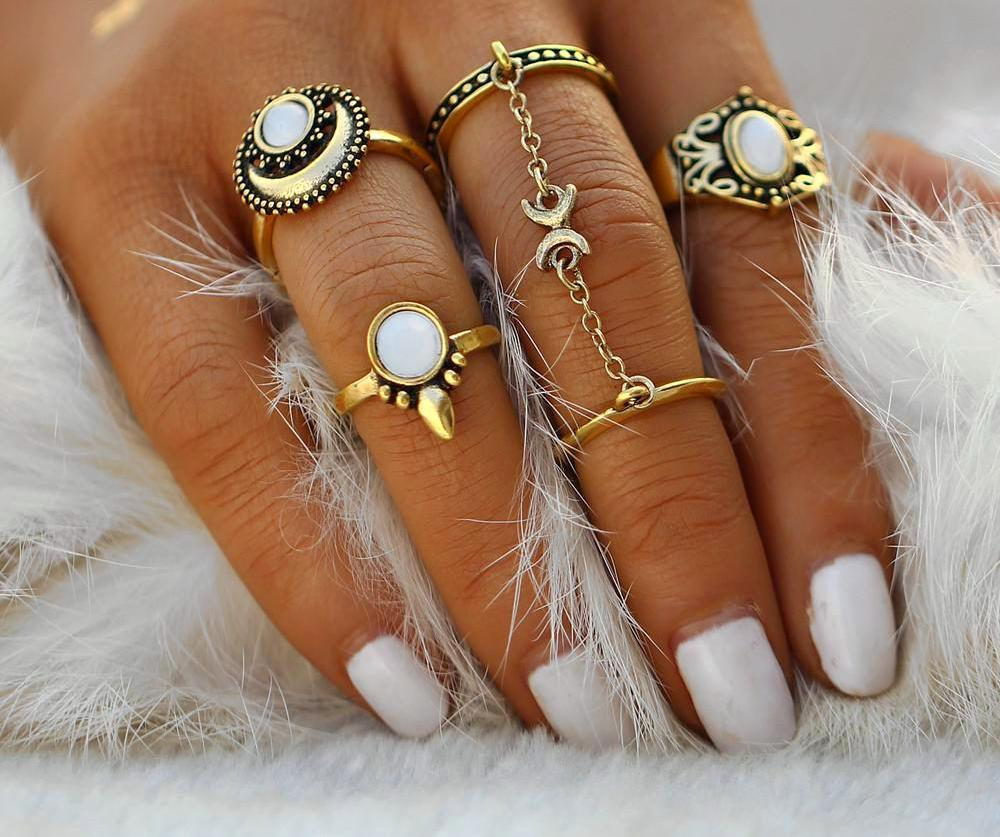 5pcs/Set Boho Midi Gemstone Rings Gold Color, [product_tags] - Let's Boho