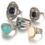 5pcs/Set Boho Gemstone Rings Silver Color, [product_tags] - Let's Boho