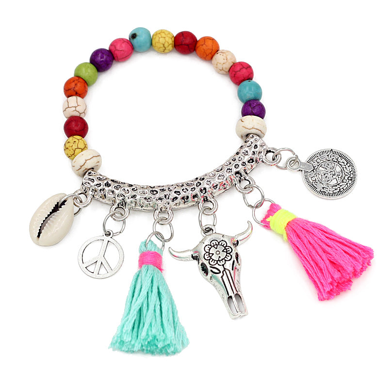 Boho Tassel Coin Shell Bracelet, [product_tags] - Let's Boho