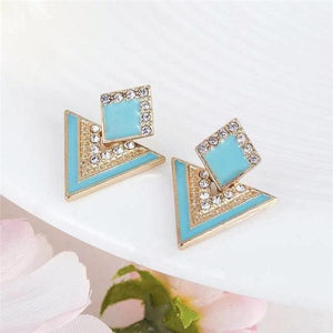 Fashion Crystal Geometrical Triangle Earrings Summer Blue, [product_tags] - Let's Boho