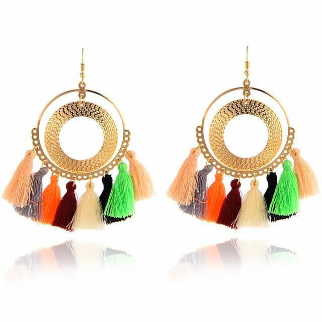 Boho Tassel Hoop Earrings Multi Color, [product_tags] - Let's Boho