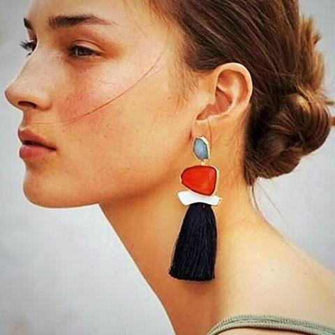 Boho Tassel Fringe Earrings Black Color, [product_tags] - Let's Boho