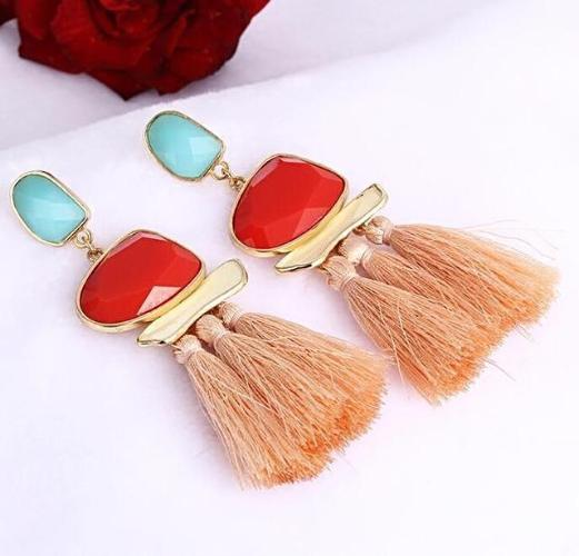 Boho Tassel Fringe Earrings Pink Color, [product_tags] - Let's Boho