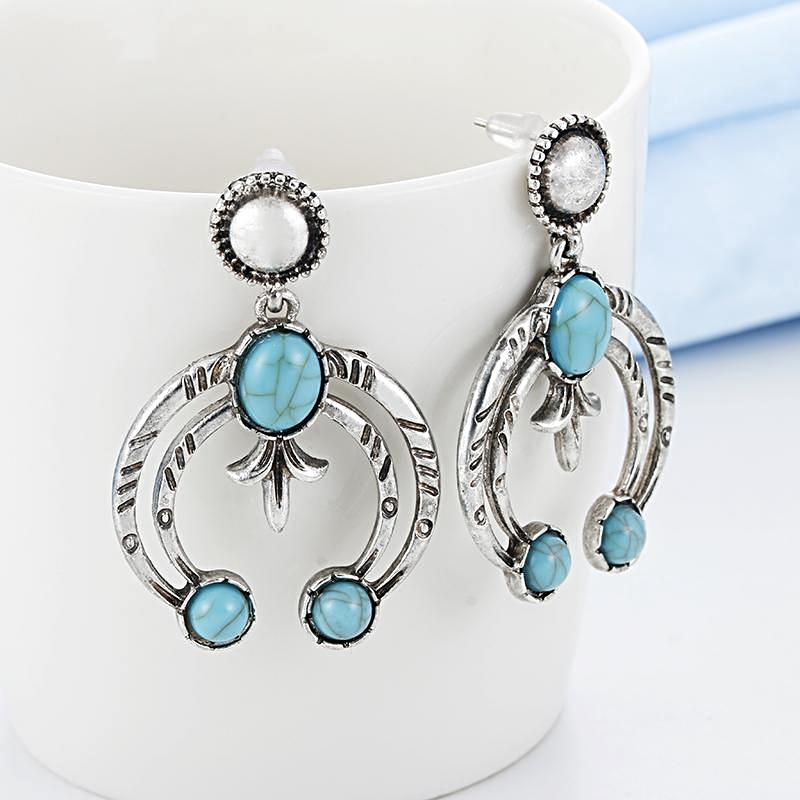 Bohemian Half Moon Blue Stone Drop Earrings, [product_tags] - Let's Boho