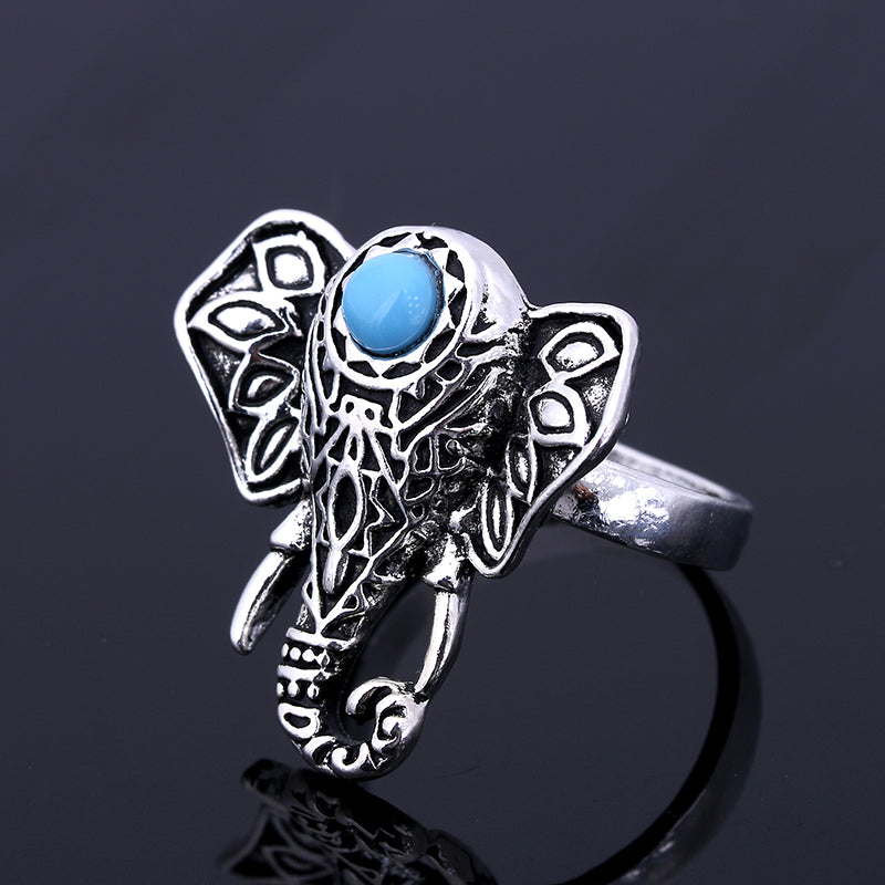 Bohemian Vintage Elephant Silver Ring Blue Stone, [product_tags] - Let's Boho