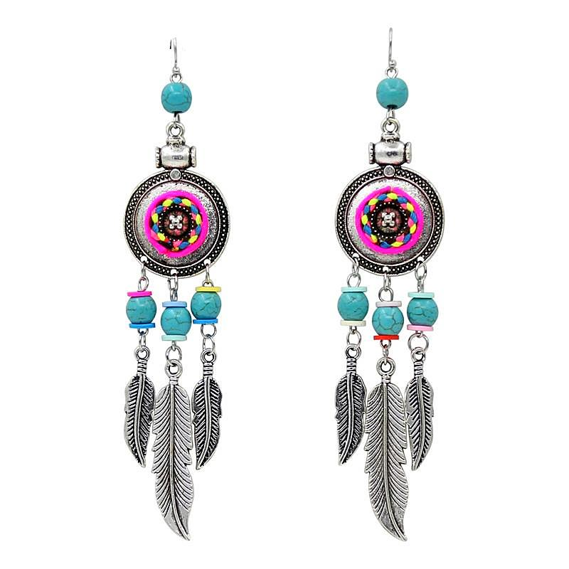 Boho Feather Dreamcatcher Drop Earrings, [product_tags] - Let's Boho